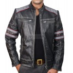 Vintage Cafe Racer Strip Biker Leather Jacket