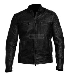 Trendy antique cafe Racer Wax Black Leather Jacket | Motorcycle Leather Jacket