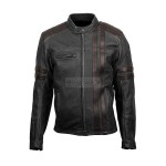 Designer 1909 Men's Leather Motorcycle Jacket | Black Retro Scorpion Leather Jacket