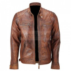 Fashion Icon Wax Light Brown (Tan) Vintage Cafe Racer Leather Jacket