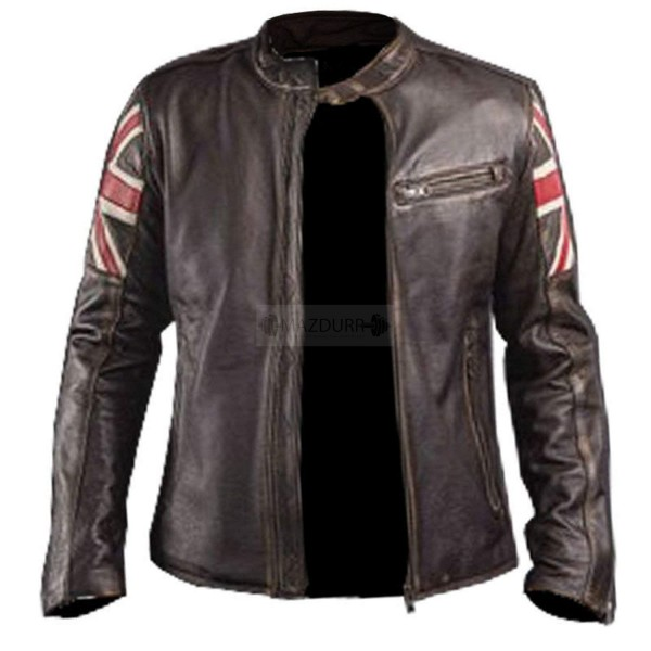 Men's UK Flag Cafe Racer Leather Jacket | Vintage Leather Motorcycle Jacket