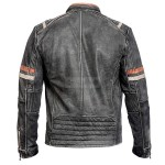 Distressed Black Strip Cafe Racer Leather Jacket