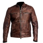 Brown Cafe Racer Leather Jacket | Leather Jacket For Mens
