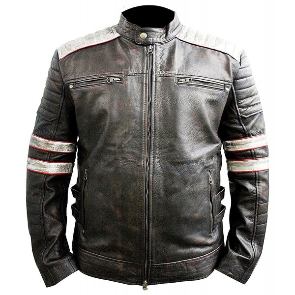 Retro Gray Stripe Cafe Racer Biker Leather Jacket | Vintage Leather Motorcycle Jacket