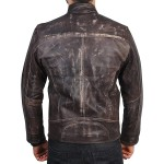 Distressed Dark Brown Tipple Stitched Cafe Racer Leather Jacket |  Leather Motorcycle Jacket