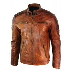 Men's Vintage Light Brown Wax Tan Cafe Racer Leather Jacket
