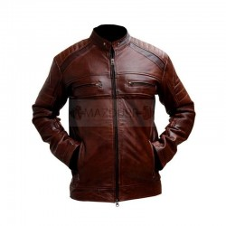 Distressed Brown Leather Jacket | Cafe Racer Jacket Men | Genuine Leather Jacket Men