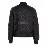 Men's Quilted Black Bomber Sheep-Skin Leather Jacket