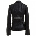 Military Style Designer Slim-fit Black Lambskin Leather Jacket