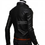 Men Black Slim Fit Black Faux / PU Leather Jacket