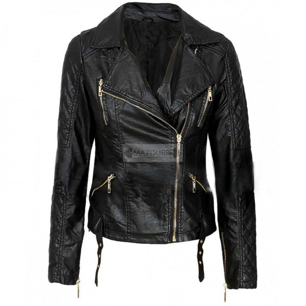 Fashion Jacket Women's Brando Style Black Sheep hide Biker Slim-fit Leather Jacket