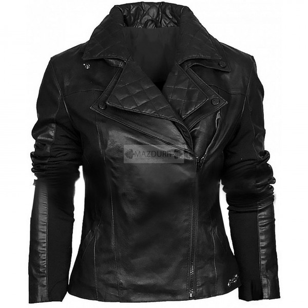 Stylish Women Biker Genuine Lambskin Leather Jacket