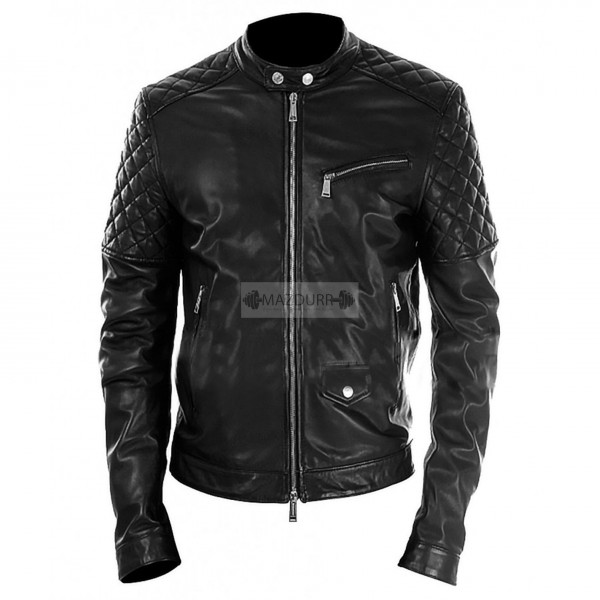Designer Men's Black Genuine Lambskin Leather Jacket