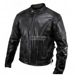 Tough Guy Men's Motorcycle Black Genuine Cowhide Leather Jacket