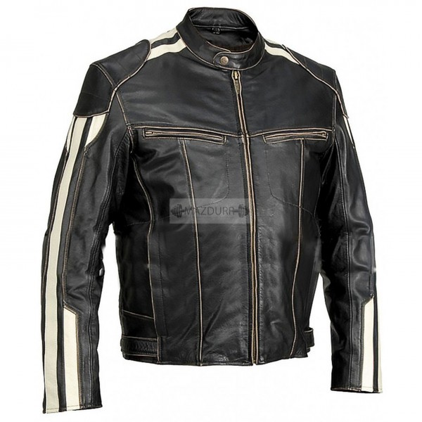 White Stripe Men's Motorcycle Black Genuine Cowhide Leather Jacket