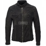 MEN'S GENUINE BLACK VINTAGE MOTORCYCLE LEATHER JACKET
