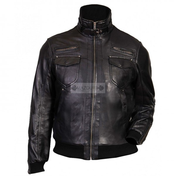 New Look Men Black Motorcycle Leather Jacket