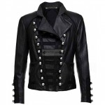 Casual Look Military Women Black Leather Jacket
