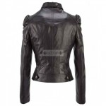Women Cropped Black Leather Jacket