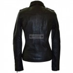 Women Black Motorcycle Leather Jacket