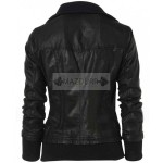 Women Double Collar Bomber Leather Jacket