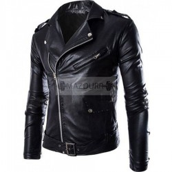 Women Zip Up Black Motorcycle Leather Jacket