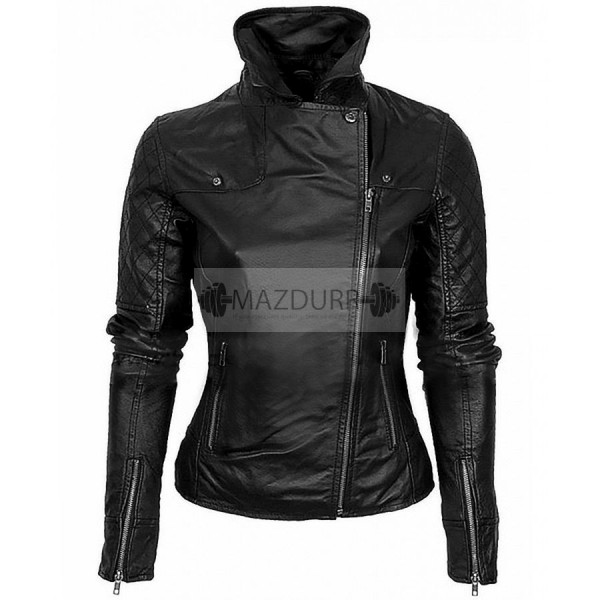 Casual Look Asymmetrical Women Black Leather Jacket