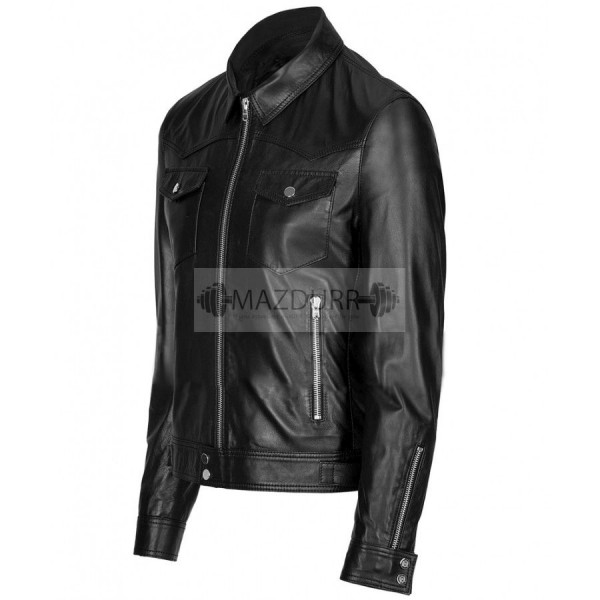 Casual Look Women Black Leather Jacket