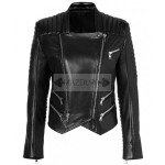 Casual Look Black Women Leather Jacket