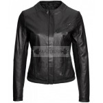 Casual Look Women Collarless Leather Jacket