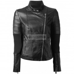 Casual Look Biker Women Black Leather Jacket