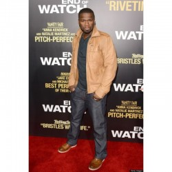 """50 CENT WEARS DIESEL LISARDO LEATHER JACKET AT """"END OF WATCH"""" HOLLYWOOD PREMIERE"""