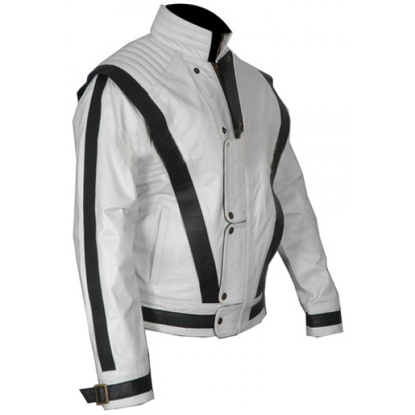 The King of Pop - Michael Jackson 'Cause this is thriller' White Leather Jacket