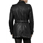 Biker Leather trench Coat