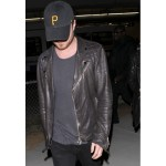 Aaron Paul Black Leather Quilted Biker Jacket | Celebrity Jacket